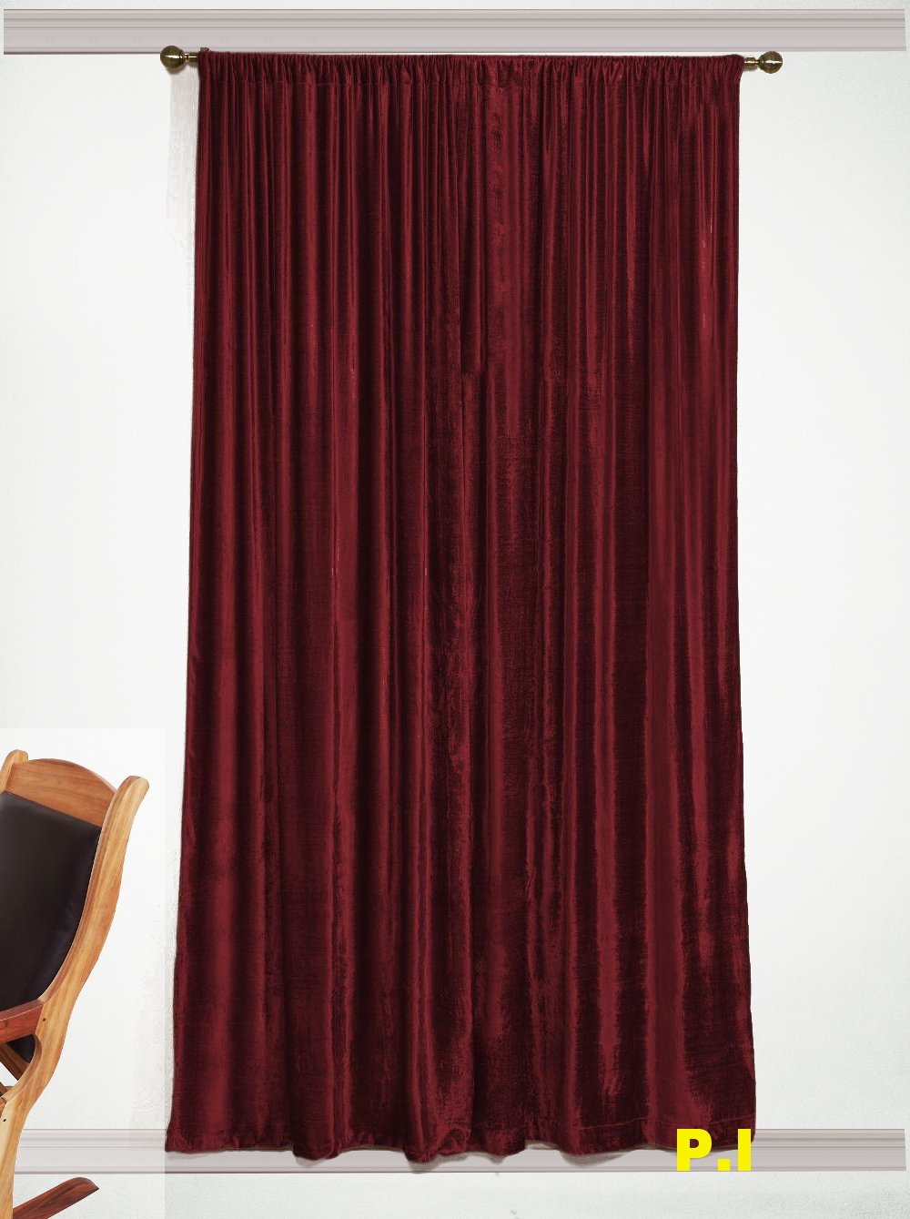 """New Blackout 100% Cotton Velvet Curtain Single Lined Panel 54""""W by 108""""H - Burgundy"""