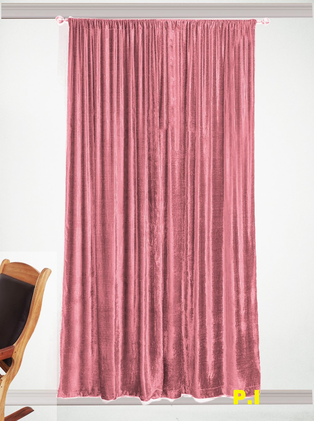 """New Blackout 100% Cotton Velvet Curtain Single Lined Panel 54""""W by 108""""H - Carnation"""