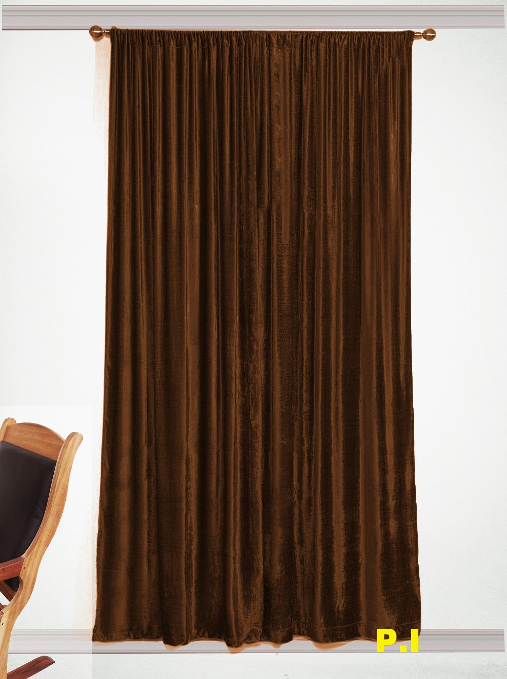 """New Blackout 100% Cotton Velvet Curtain Single Lined Panel 54""""W by 108""""H - Choco"""