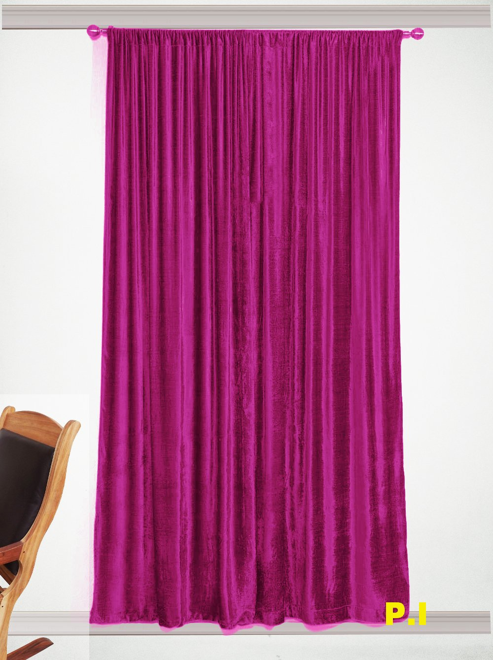 "New Blackout 100% Cotton Velvet Curtain Single Lined Panel 54""W by 108""H - Fuschia"