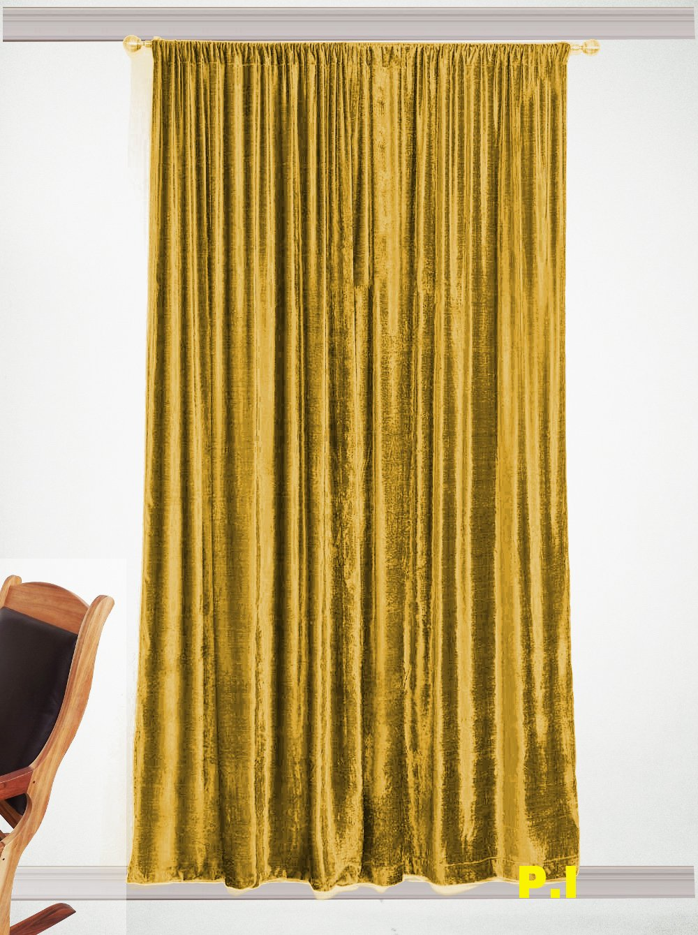 "New Blackout 100% Cotton Velvet Curtain Single Lined Panel 54""W by 108""H - Gold"