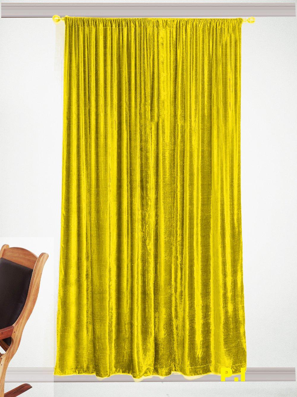 "New Blackout 100% Cotton Velvet Curtain Single Lined Panel 54""W by 108""H - Lemon Grass"