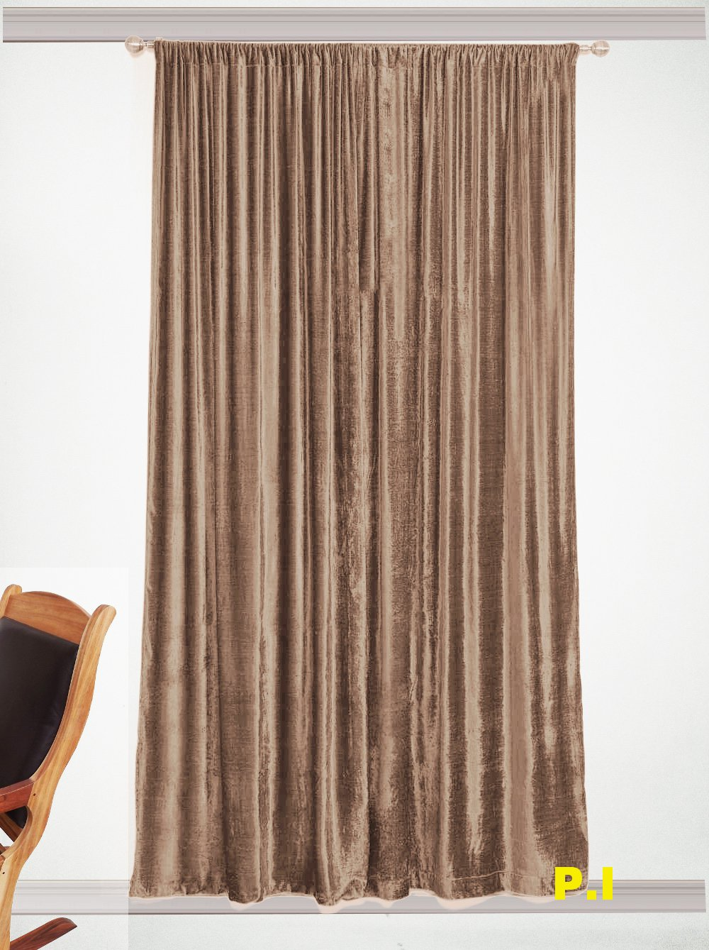 "New Blackout 100% Cotton Velvet Curtain Single Lined Panel 54""W by 108""H - Mocha"