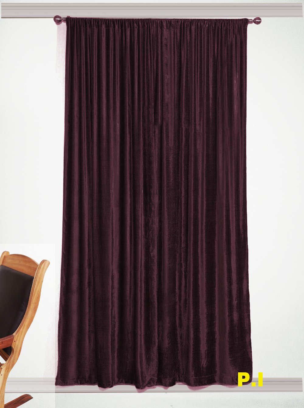 "New Blackout 100% Cotton Velvet Curtain Single Lined Panel 54""W by 108""H - Plum"