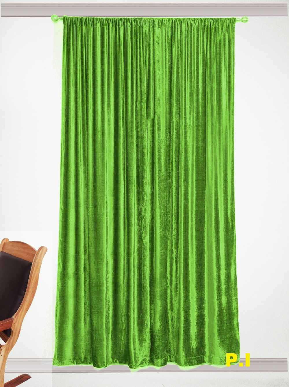 """New Blackout 100% Cotton Velvet Curtain Single Lined Panel 54""""W by 108""""H - Sage Green"""