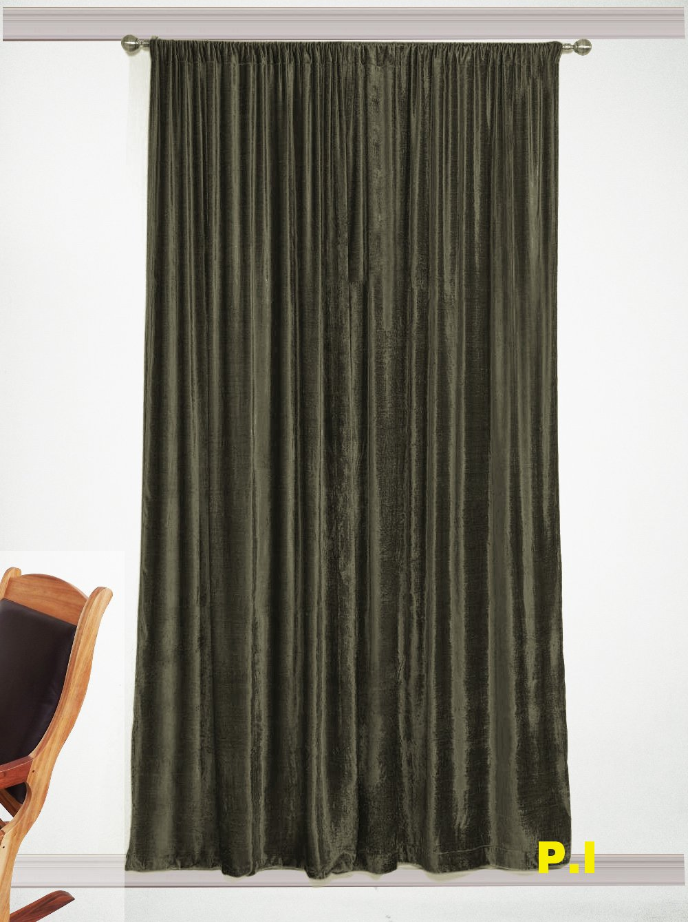 "New Blackout 100% Cotton Velvet Curtain Single Lined Panel 54""W by 108""H - Stone"