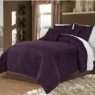 Berry Twin/Twin XL 100% Velvet & Cotton Reversible Duvet Quilt Cover Set 3pcs