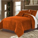 Bronze Twin/Twin XL 100% Velvet & Cotton Reversible Duvet Quilt Cover Set 3pcs