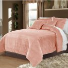 Carnation Twin/Twin XL 100% Velvet & Cotton Reversible Duvet Quilt Cover Set 3pcs