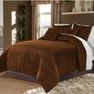 Choco Twin/Twin XL 100% Velvet & Cotton Reversible Duvet Quilt Cover Set 3pcs