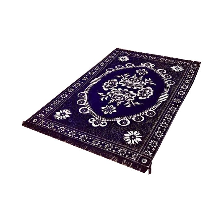 Floral Persian Style Chenille Carpet Oriental Area 5'X7' Rug Mat,Navy Blue