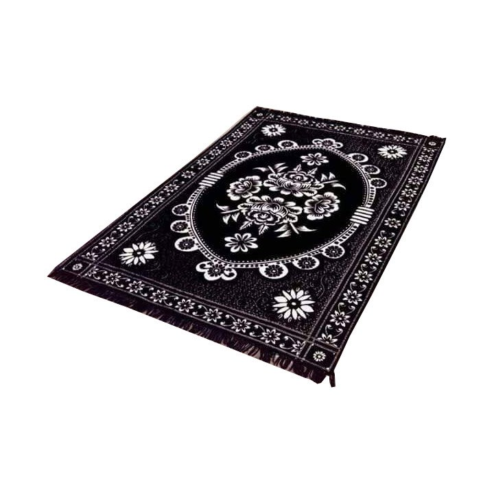 Floral Persian Style Chenille Carpet Oriental Area 5'X7' Rug Mat,Black