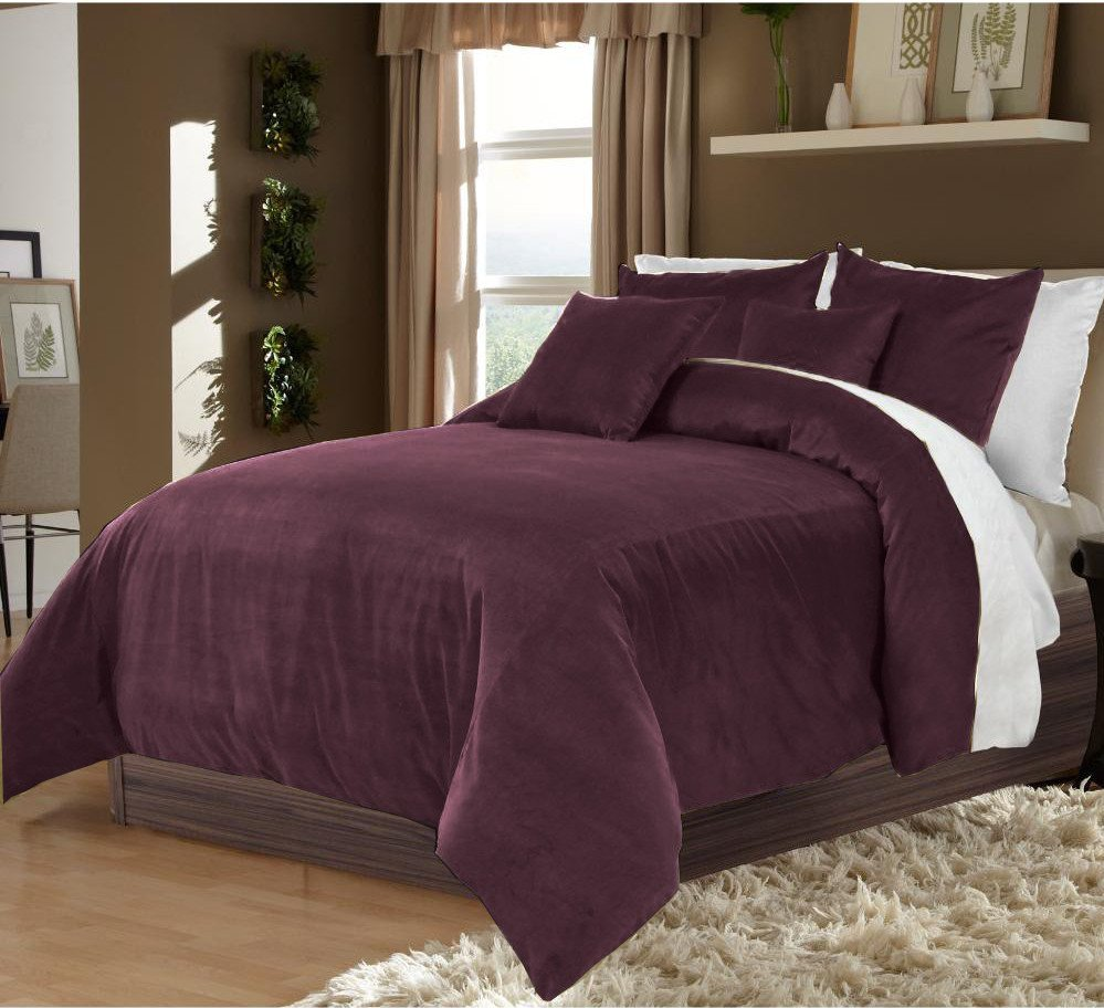 Plum Twin/Twin XL 100% Velvet & Cotton Reversible Duvet Quilt Cover Set 3pcs