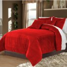 Ruby Red Twin/Twin XL 100% Velvet & Cotton Reversible Duvet Quilt Cover Set 3pcs