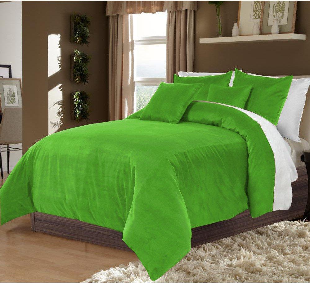Sage Green Twin/Twin XL 100% Velvet & Cotton Reversible Duvet Quilt Cover Set 3pcs