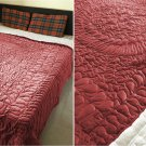 New Twin/Twin XL Size Royal 100% Cotton Velvet Quilt Abstarct Design - Burgundy