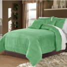 Full/Queen 100% Velvet-Egytian Cotton Reversible  PEACOCK GREEN  Duvet Quilt Cover Set 3pc