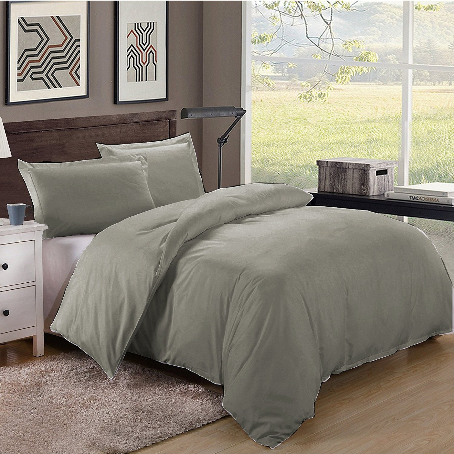 Full/Queen Size 600TC 100% Egyptian Cotton ultra soft Duvet Cover 3pcs Set ,Dark Grey