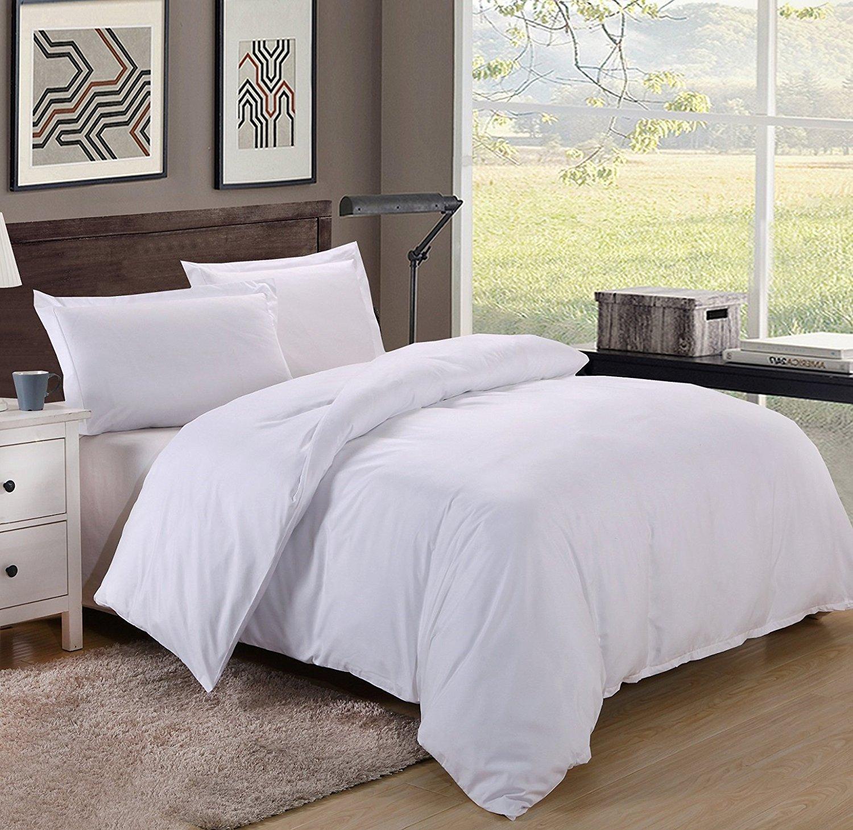 King/Cal King Size 600TC 100% Egyptian Cotton ultra soft Duvet Cover 3pcs Set ,White