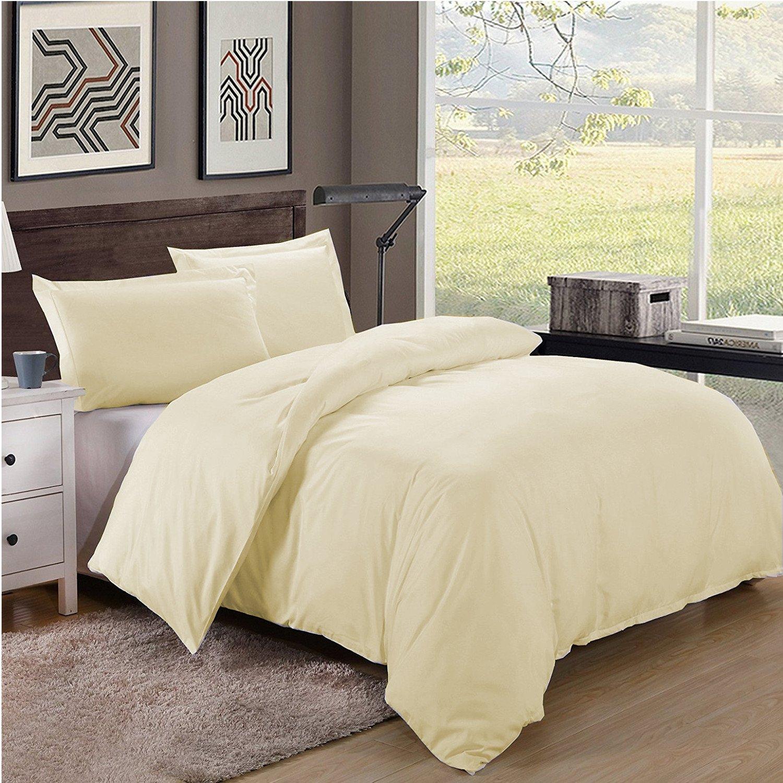 King/Cal King Size 600TC 100% Egyptian Cotton ultra soft Duvet Cover 3pcs Set ,Ivory