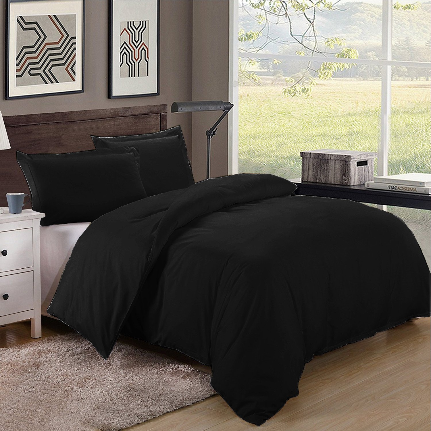 Twin/Twin XL Size 600TC 100% Egyptian Cotton ultra soft Duvet Cover 3pcs Set ,Black