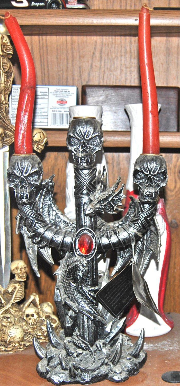 DWK Corporation Pewter Dragon/ Skulls Candlelebra Limited Edition