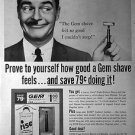 1961 Gem Razor Vintage Ad 10x14