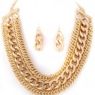 Multilayered Gold curb link necklace