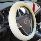 Short Plush Car Steering Wheel Cover Sheepskin Lined with Rubber Ring Non-slip
