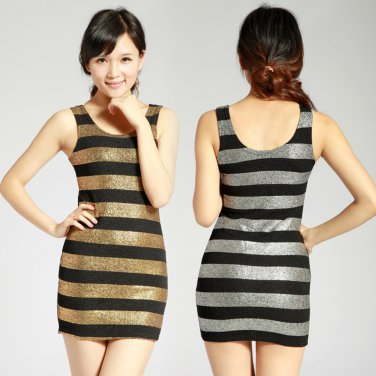 New Charming Gleam Sexy Leopard Long bottoming Vest Dress Women Top