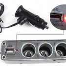 USB+3 Car Cigarette Lighter PORT 12V CAR CHARGER SOCKET FOR MOBILE GPS PDA