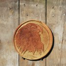 "8"" round hand carved eagle out of wood"