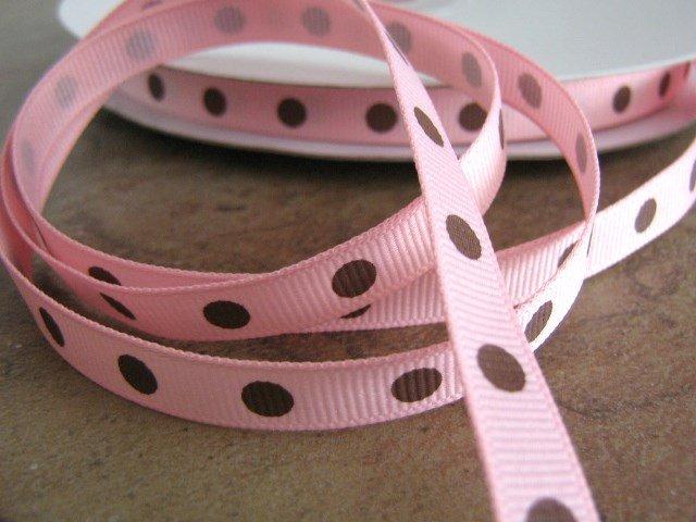 3/8 Inch Wide Pink Grosgrain Ribbon Brown Polka Dots  Trim 5 Yards