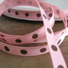 3/8 Inch Wide Pink Grosgrain Ribbon Brown Polka Dots  Trim 5 Yards