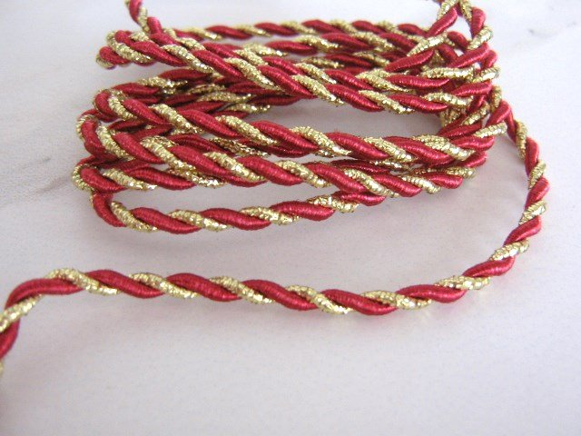 Red Burgandy and Gold Metallic 4mm Trim Twine Cord 1 Yard