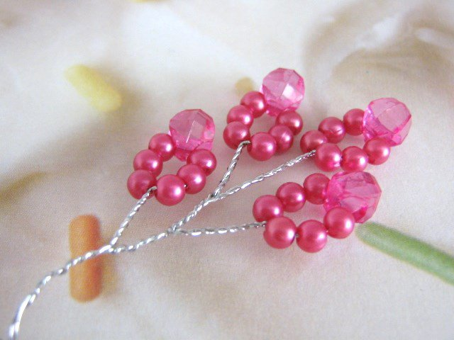 Pink Plastic Pearl Bead Spray Floral Bunch