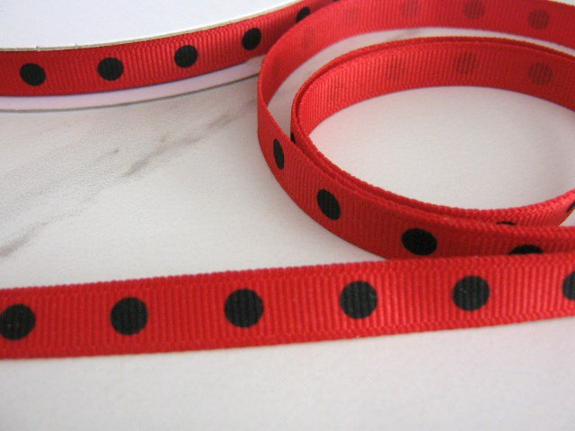 3/8 Inch Wide Red with Black Polka Dot Grosgrain Ribbon 5 Yards