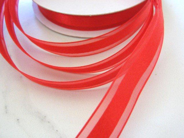5/8 Inch Wide Red Organza Satin Center Ribbon Trim 2 yards Floral Supplies