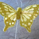 Gold Glitter Butterfly 3 Inch Feather Butterflies Floral Supplies