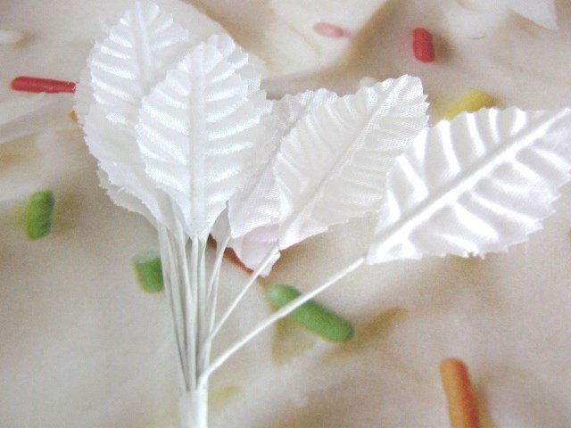 White Leaves Fabric Wired Large 12pcs Floral Supply Corsage