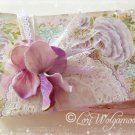 Hand Painted Roses Stacked Booklets Decorative Victorian Lavender Shabby Chic