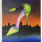 Mixed Media 3D Canvas Oil Painting Green High Heel Shoe 24 x 30