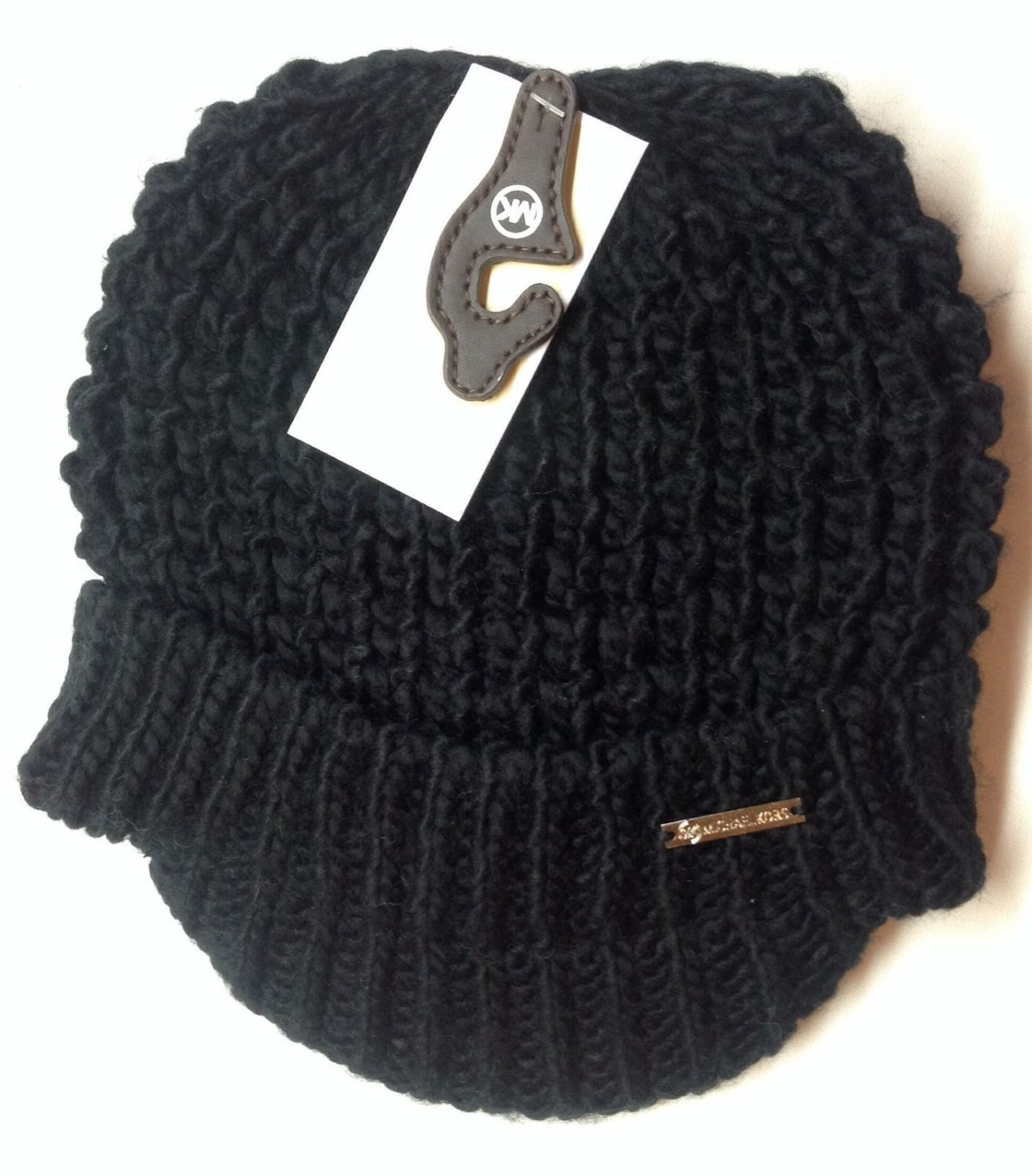black michael kors womens cable knit brim hat winter cap nwt