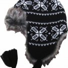 Black and White Trapper Bomber Aviator Russian Trooper Fur Earflap Winter Ski Hat Mens Womens
