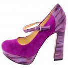 Womens Ankle Strap Fashion High Heels Chunky Platform Pumps Sexy Mary Jane Shoes Purple