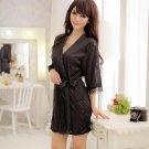 Black Hot sexy Ice Silk Lace Kimono Dressing Gown Open Bath Robe Babydoll Lingerie Set