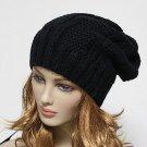 Black Knit Beanie Men's Women's Winter Oversize Hat Ski Slouchy Cap Chic Unisex - Free Shipping
