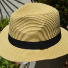 TAN / KHAKI Summer Cool Panama Wide brim Fedora Straw Made Indiana Jones Style Hat