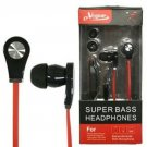 eVogue Super Bass Stereo Earbuds Headset with Microphone,Tangle Free Flat Red Free ship in USA