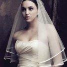 Ribbon Edge Center Cascade Bridal pretty Wedding Veil Satin Cloth edge - Free ship
